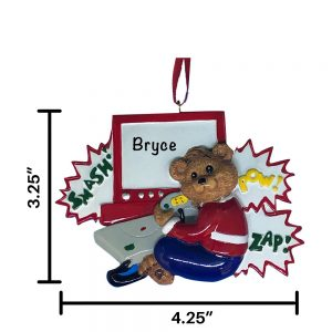 Video Game Bear Personalized Christmas Ornament