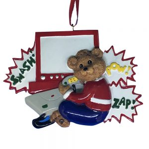 Video Game Bear Personalized Christmas Ornament - Blank
