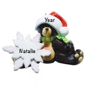 Sitting Black Bear Personalized Christmas Ornament