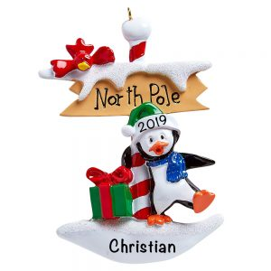 North Pole Penguin Personalized Christmas Ornament