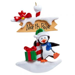 North Pole Penguin Personalized Christmas Ornament - Blank