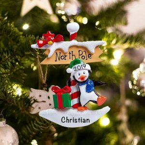 Personalized North Pole Penguin Christmas Ornament