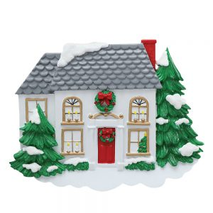 Traditional Winter Home Personalized Christmas Ornament - Blank
