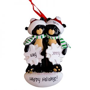 Black Bear Snowflake Couple