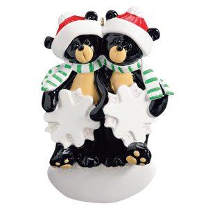 Black Bear Snowflake Couple Personalized Christmas Ornament - Blank