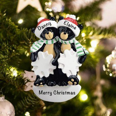 Personalized Black Bear Snowflake Couple Christmas Ornament