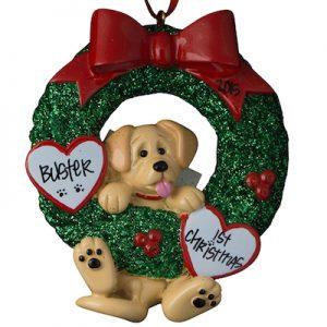 Yellow Labrador Wreath Christmas Ornament