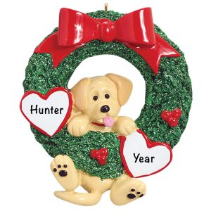 ellow Lab Wreath Personalized Christmas Ornament