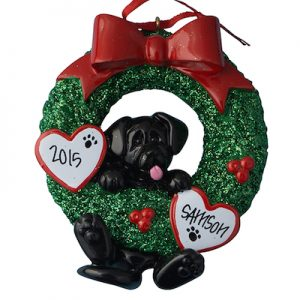Black Labrador Wreath Christmas Ornament