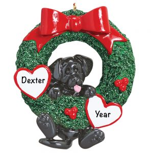 Black Lab Wreath Personalized Christmas Ornament