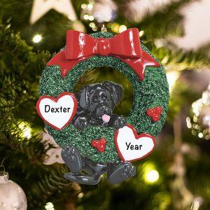Personalized Black Lab Wreath Christmas Ornament