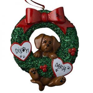 Dachshund Wreath Christmas Ornament