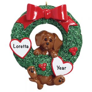 Dachshund Wreath Personalized Christmas Ornament
