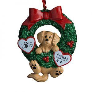 Golden Retriever Wreath Christmas Ornament
