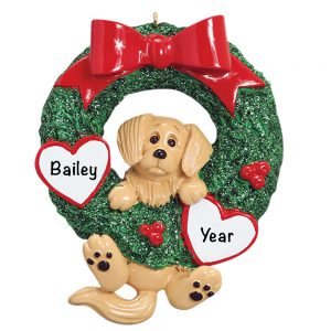 Golden Retriever Wreath Personalized Christmas Ornament