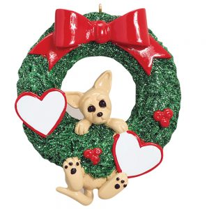 Chihuahua With Wreath Personalized Christmas Ornament - Blank