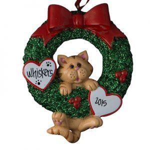 Orange Tabby Cat Wreath Christmas Ornament