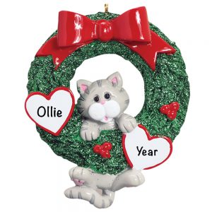 Gray Tabby Cat Personalized Christmas Ornament