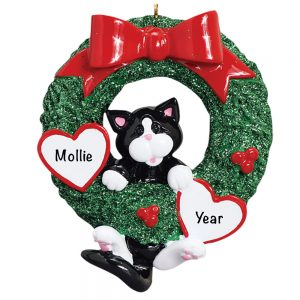 Tuxedo Cat Wreath Personalized Christmas Ornament