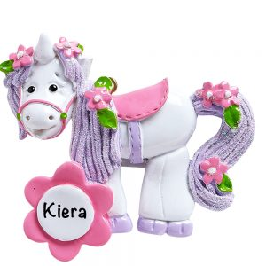 Unicorn Flowers Personalized Christmas Ornament