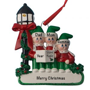 Christmas Choir Family of 3 Personalized Christmas Ornament