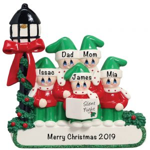 Christmas Choir Family of 5 Personalized Christmas Ornament