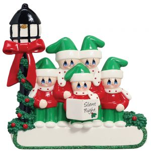 Christmas Choir Family of 5 Personalized Christmas Ornament - Blank
