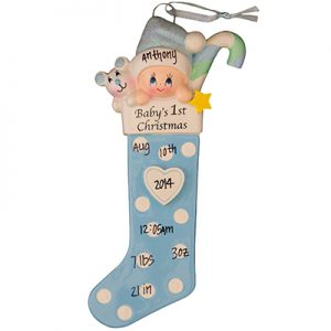 "Blue ""Baby's 1st Christmas"" Stocking"