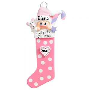 Baby's 1st Christmas Stocking Pink Personalized Christmas Ornament