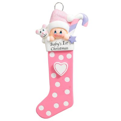 Baby's 1st Christmas Stocking Pink Personalized Christmas Ornament - Blank