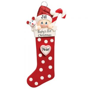 Baby's 1st Christmas Stocking Red Personalized Christmas Ornament