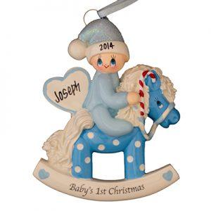 "Blue ""Baby's 1st Christmas"" Rocking Horse"