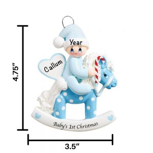 Blue Baby Rocking Horse Personalized Christmas Ornament