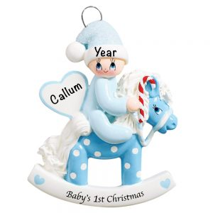 Rocking Horse Baby's 1st Christmas Boy Personalized Christmas Ornament