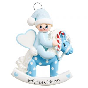 Rocking Horse Baby's 1st Christmas Boy Personalized Christmas Ornament - Blank