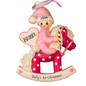 Pink Baby 1st Christmas Rocking Horse
