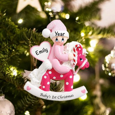Personalized Rocking Horst Babys First Christmas Ornament