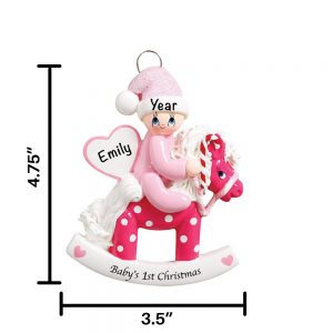 Pink Baby Rocking Horse Personalized Christmas Ornament