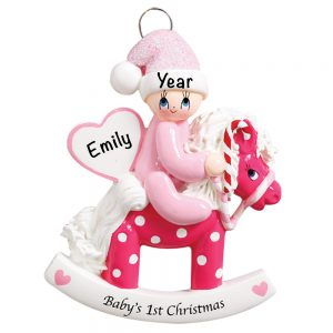 Rocking Horse Baby's 1st Christmas Girl Personalized Christmas Ornament
