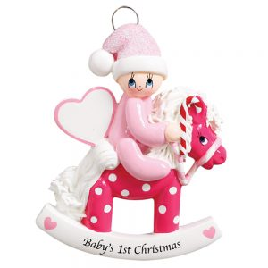 Rocking Horse Baby's 1st Christmas Girl Personalized Christmas Ornament - Blank
