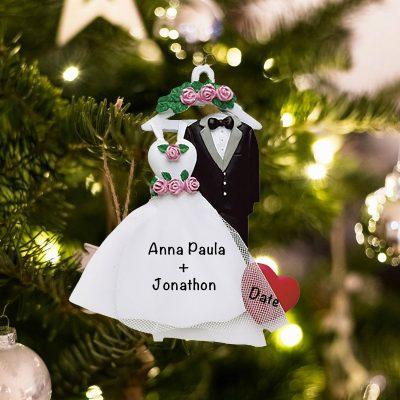Personalized Wedding Attire Christmas Ornament