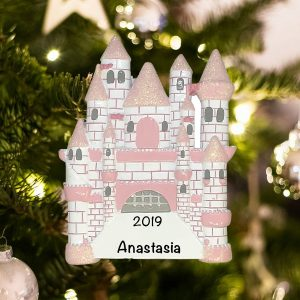Personalized Princess Castle Christmas Ornament