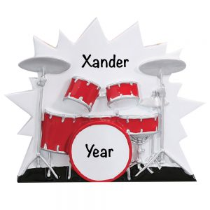 Drum set Music Personalized Christmas Ornament
