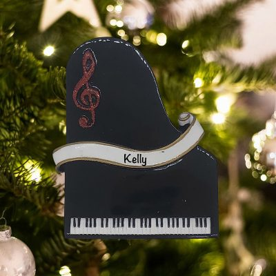 Personalized Piano Christmas Ornament