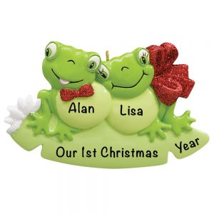 Frog Couple Personalized Christmas Ornament