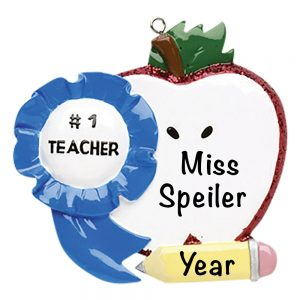 Teacher #1 Apple Personalized Christmas Ornament