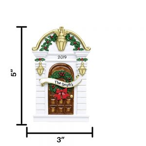 Brown Door with Lights Personalized Christmas Ornament