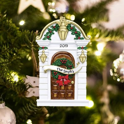 Personalized Brown Door Christmas Ornament