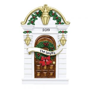 White Traditional Door Personalized Christmas Ornament