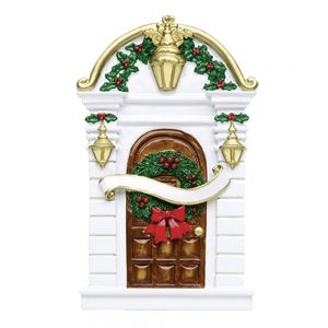 White Traditional Door Personalized Christmas Ornament - Blank